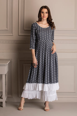 Grey and White Embroidered Kurta Set