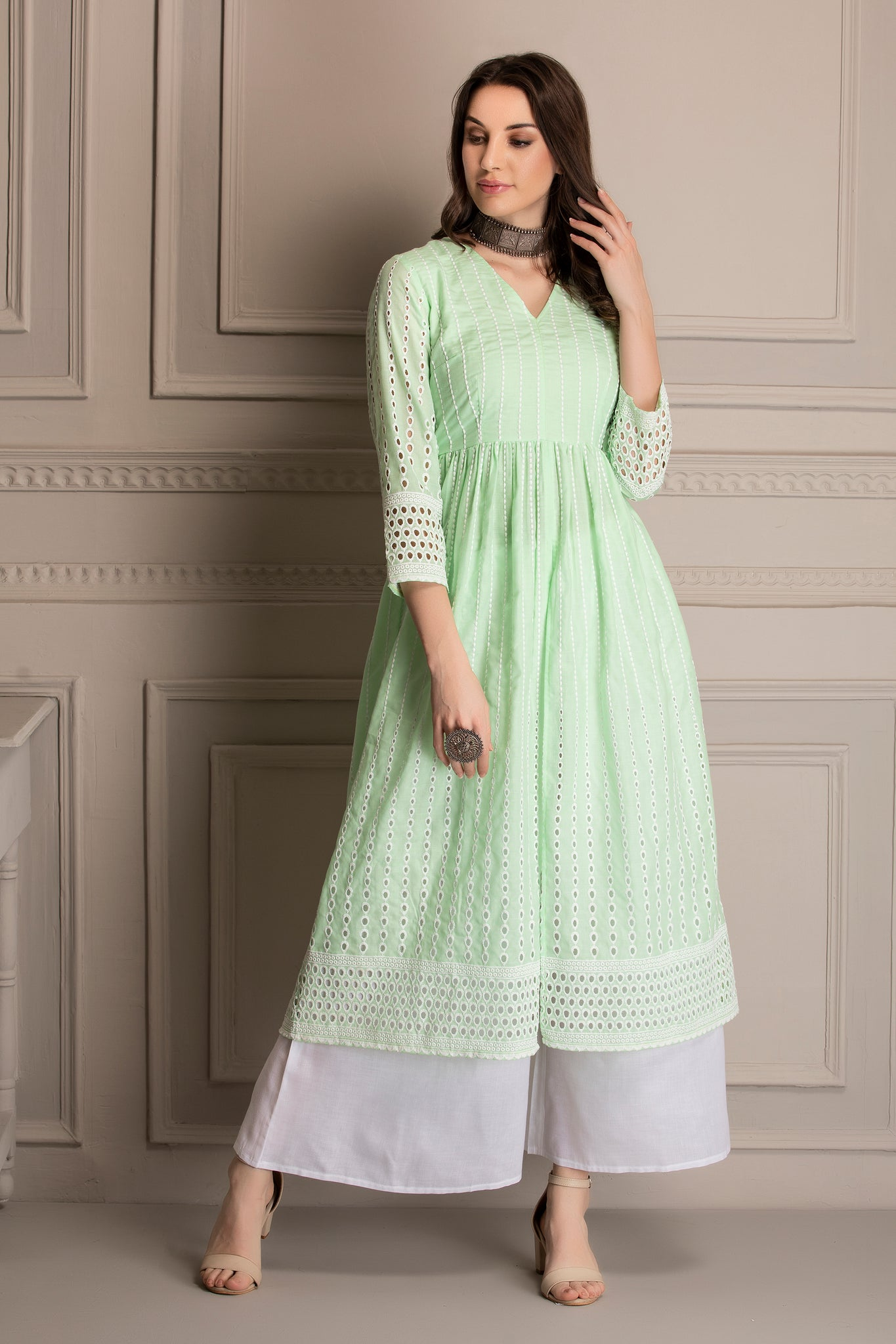Lime and White Cotton Chikankari Kurta Set