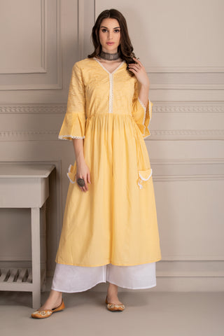 Yellow Embroidered Kurta and White Palazzo Set
