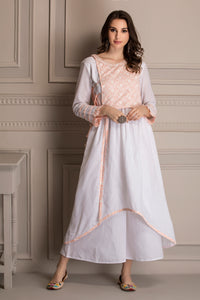 Peach and White Embroidered Kurta Set