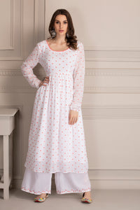 White and Fuschia Embroidered Kurta Set