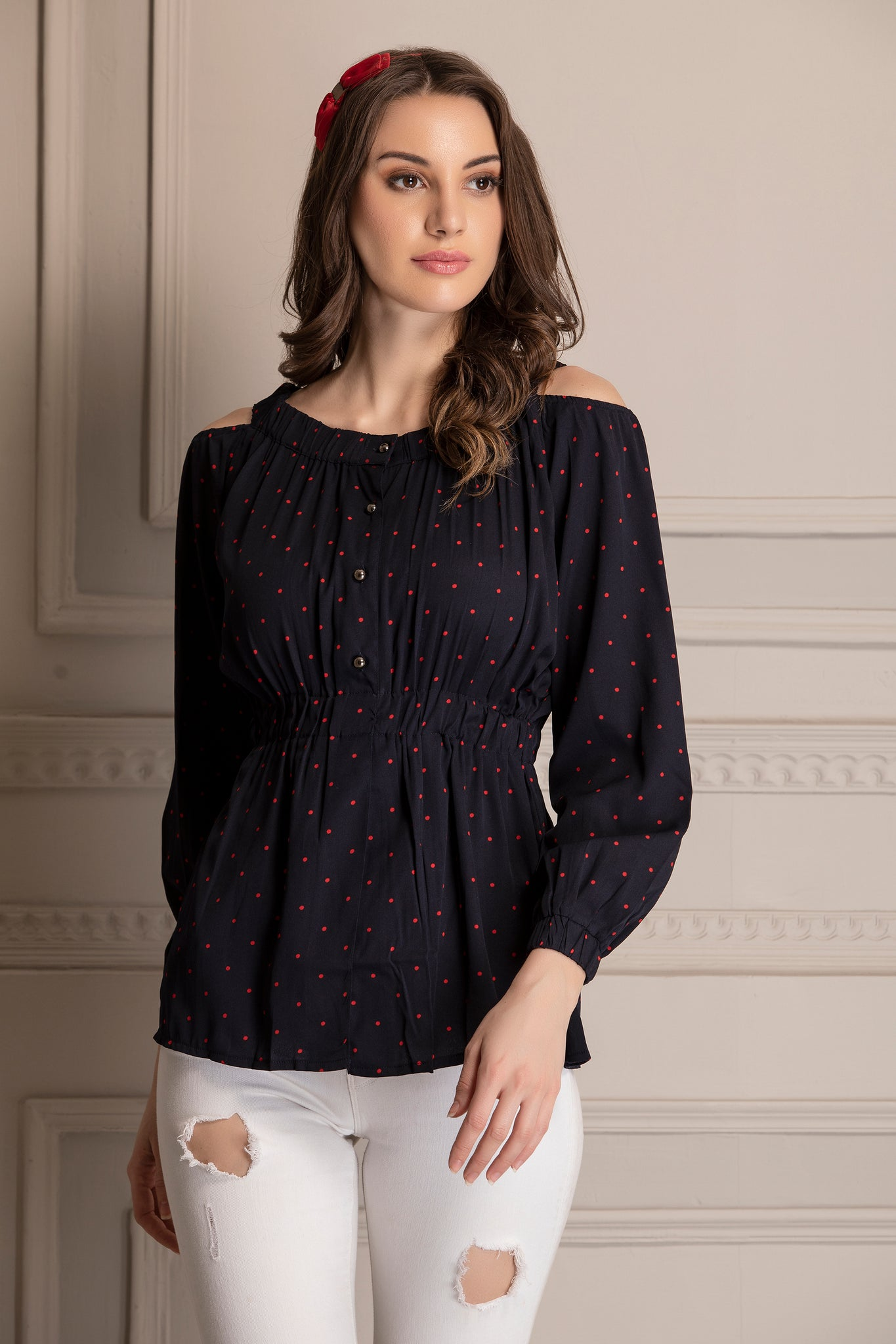 Navy and Red Polka Dot Top
