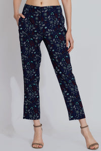 Navy Print Pants - Printed cotton pants for ladies - sewandyou.com