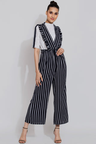 Navy Dungaree Style Ruffle Pants
