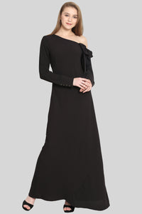 One Side Falling Shoulder Black Maxi Dress - sewandyou.com