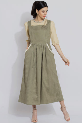 Green Stripe Pinafore Dress Set - sewandyou.com