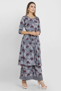 Grey Drum Print Kurta Set