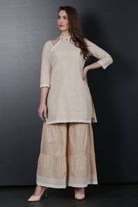 Beige Embroidered Kurta  and Garara Set