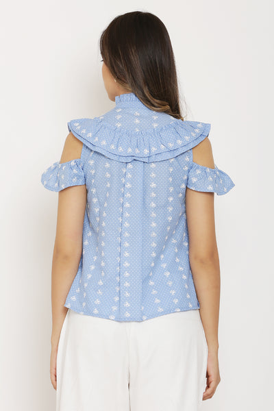 Blue and White Dot Print Top