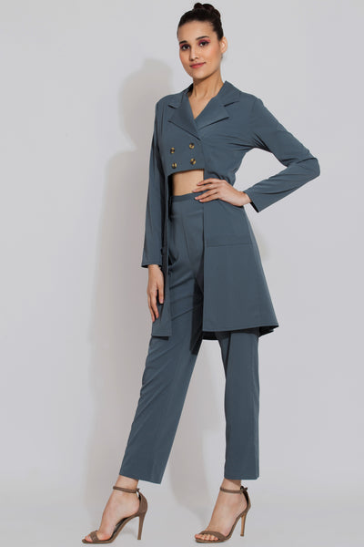 Harbour Grey Longline Jacket and Pants Co ord Set