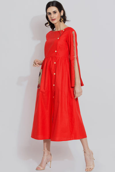 Red cotton indie midi dress