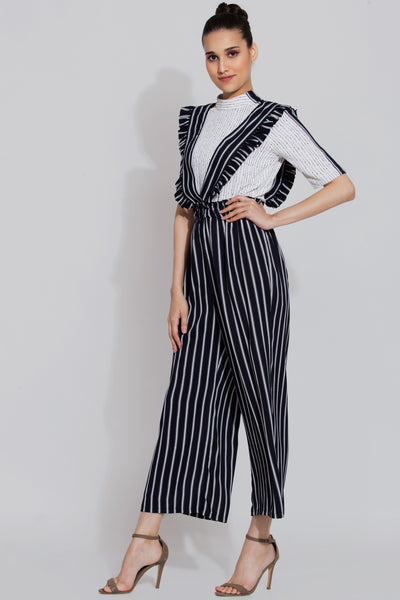 Dense Striped Jumpsuit Pant and Top Set For Women - sewandyou.com