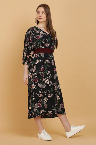 Navy Floral Print Midi Dress With Belt