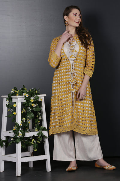 Mustard Jacket with Kurta Set