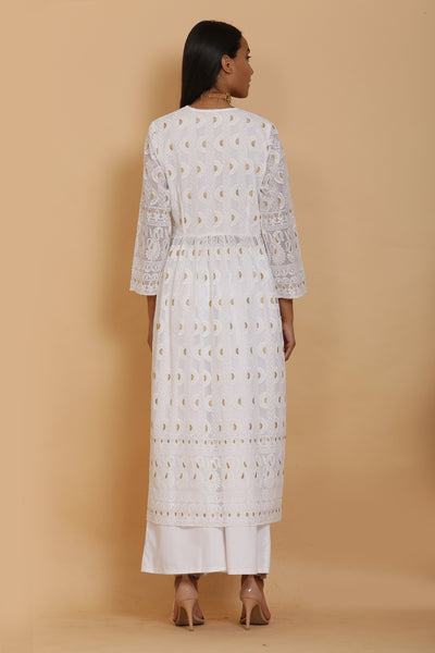 White and Gold Chikankari Kurta Set