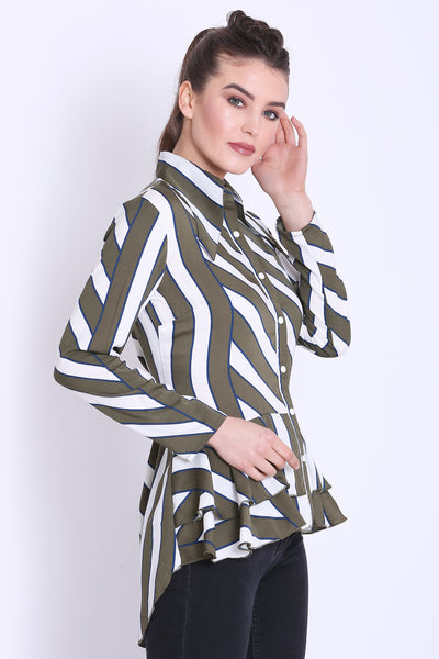 Olive green and White Stripe Long Shirt