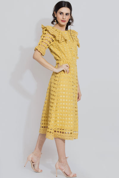 Mustard Schiffli Midi Dress For Girls - Sewandyou.com