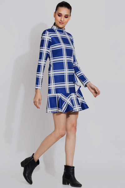 Blue Checked Short Dress