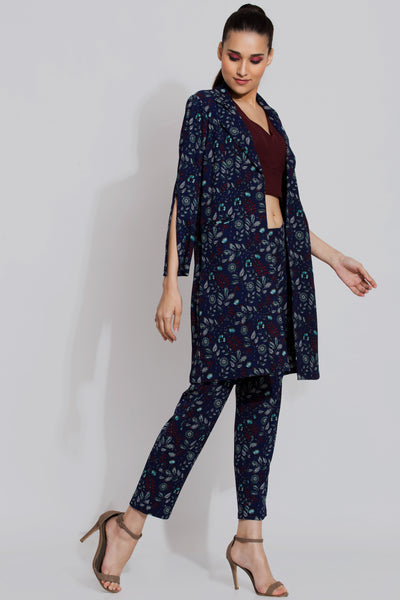 Navy Print Trench Coat and Pants Co-ord Set