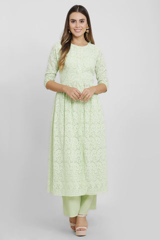Lime Green Chikankari Kurta Set