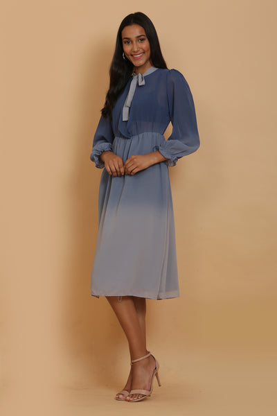 Blue Ombre Tie Dress