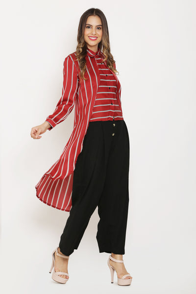 Red Stripes Maxi Shirt