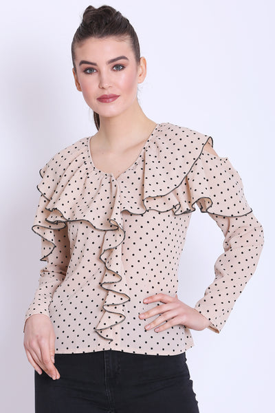 Beige Color Polka Dot Ruffle Top- Sewandyou