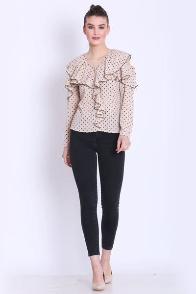 Beige Color Polka Dot Ruffle Top For Girls- Sewandyou