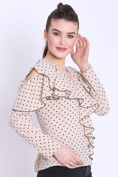 Beige Polka Dot Ruffle Top