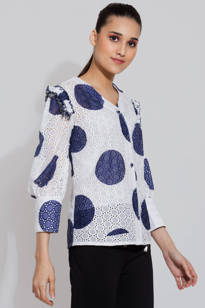 White Oversized Polka dots Blouse