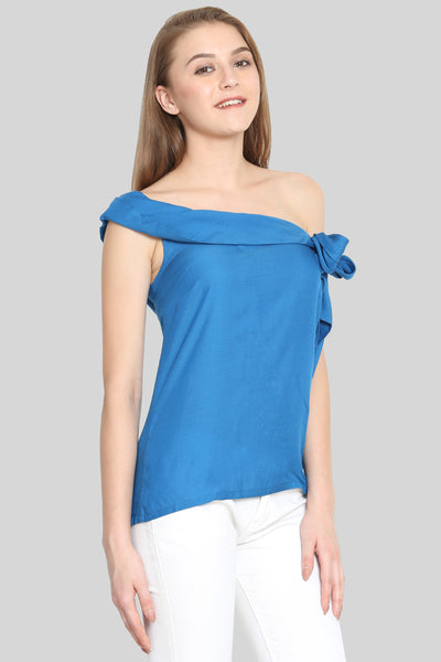 Ocean blue off-shoulder tie top