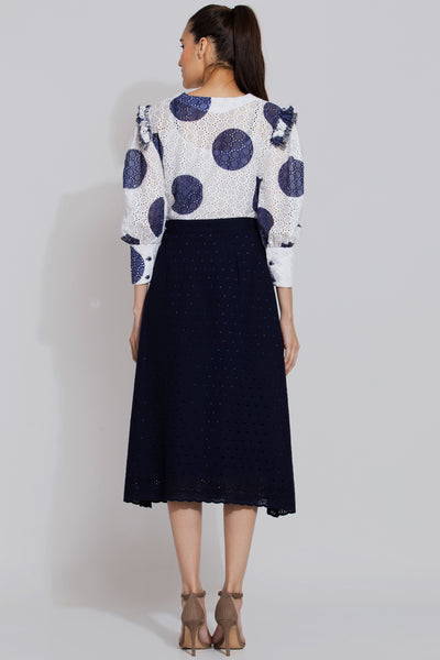 White Polka dot blouse and Navy Embroidered skirt set