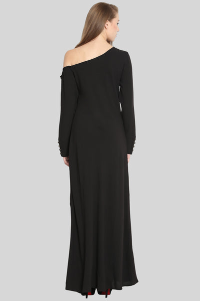 One Side Falling Shoulder Black Maxi Dress