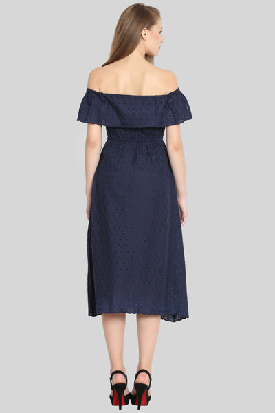 Navy Off shoulder embroidered dress