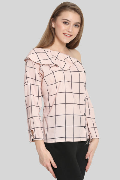 Pink checked bardot Top