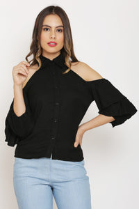 Black Double Layered Sleeve Top