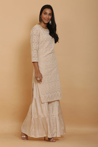 Beige Kurta and Garara Set