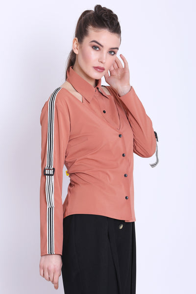 Rose Pink Double Buttoned Regular Fit Shirt For Women - Sewandyou
