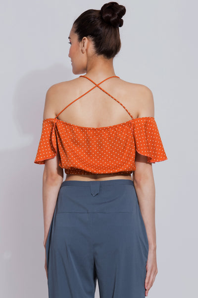 Tangerine Halter Neck Crop Top
