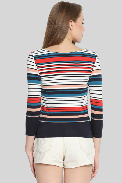 Multicoloured striped T-shirt