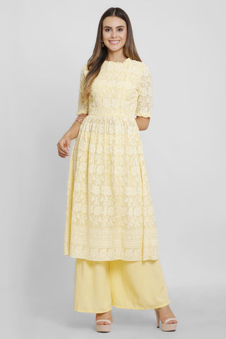 Lemon Yellow Chikankari Kurta Set
