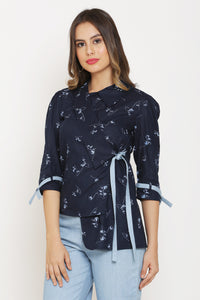 Navy Wrap Blazer Top