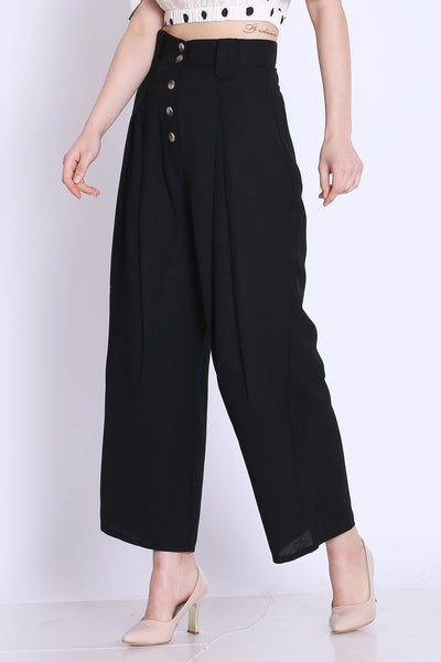 Women High Waist Black Culottes - sewandyou.com
