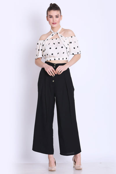 White Polka Crop Top and Black Pants Co ord Set
