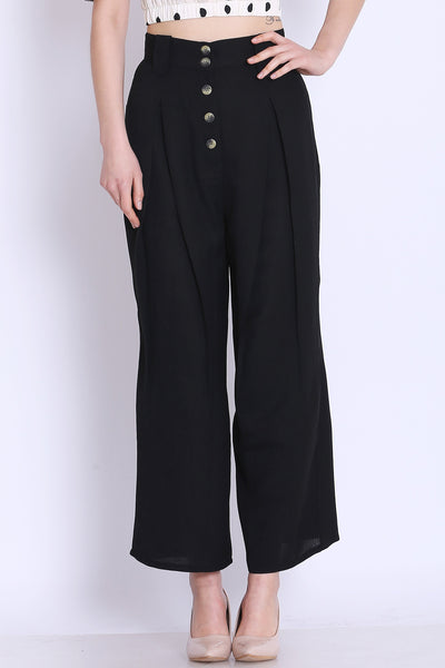 High Waist Black Culottes