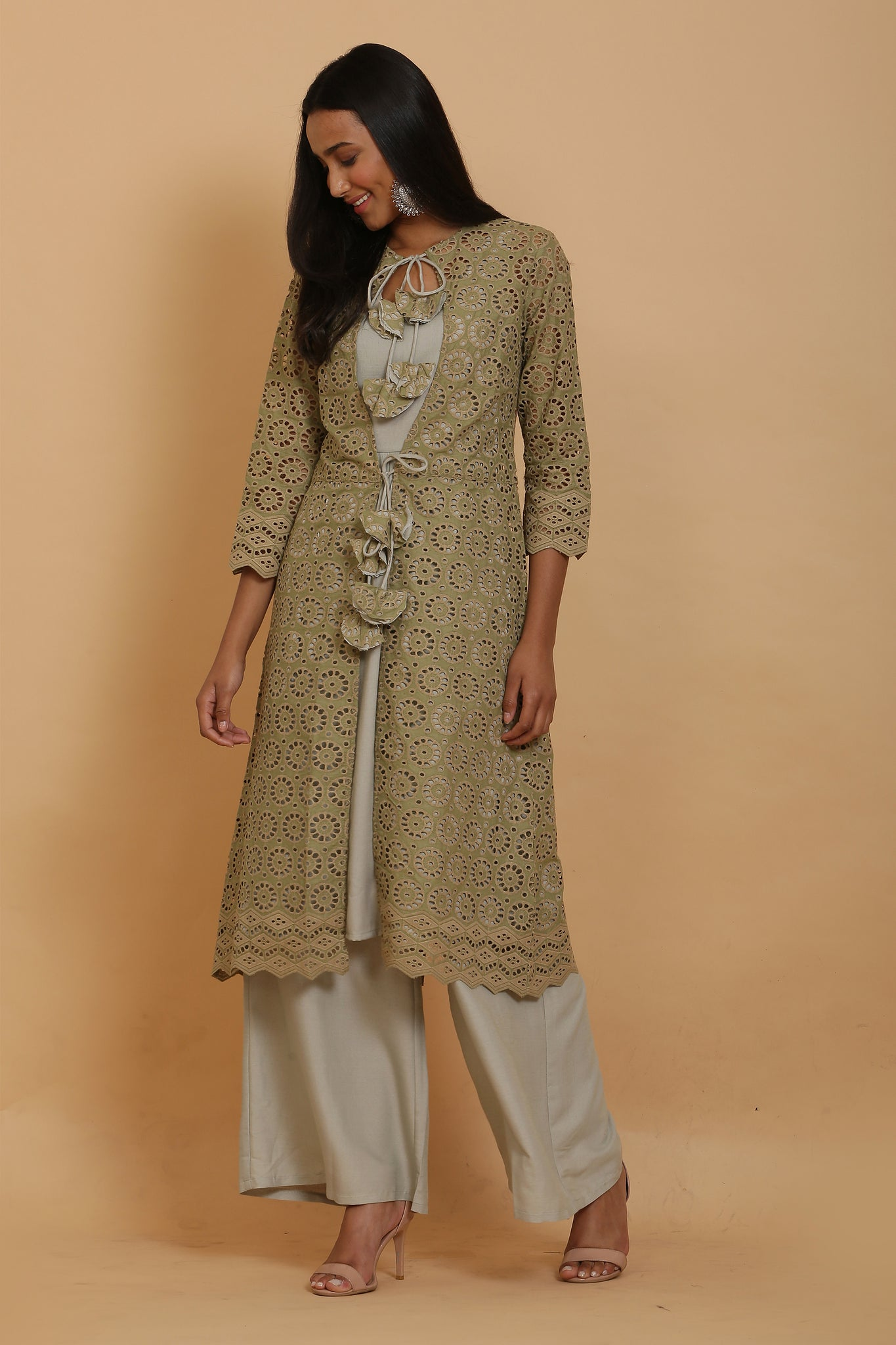 Sage Green Kurta Set with Jacket