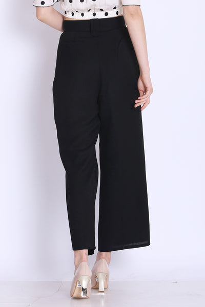 High Waist Black Culottes For Girls - sewandyou.com