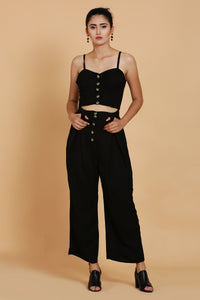Black Bustier and Black Culottes Co-ord Set - Sewandyou.com