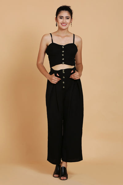 Black Bustier and Black Culottes Co-ord Set For Women- Sewandyou.com