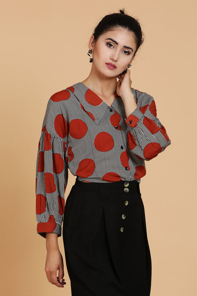 Oversize Dot Printed Blouse